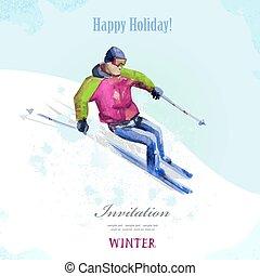 hiver, sport., aquarelle, skier., vendange, affiche, pour, ton, design.