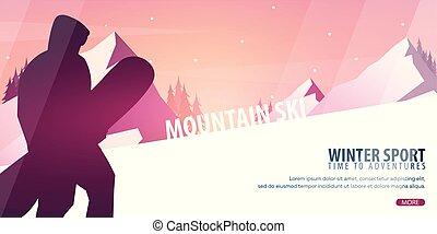 montagne snowboard paysage hiver montagne hiver illustration vecteurs rechercher des. Black Bedroom Furniture Sets. Home Design Ideas