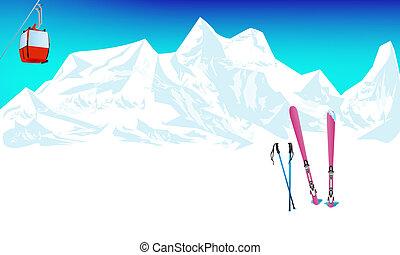 hiver, sports extrêmes, ski, repos
