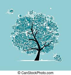 hiver, surgelé, arbre, conception, fleurs, ton