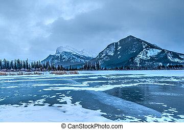 hiver, surgelé, lacs, matin, vermillion, froid