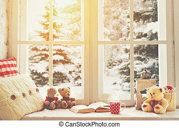 hiver, tasse, thé, livre, fenêtre, chaud, noël