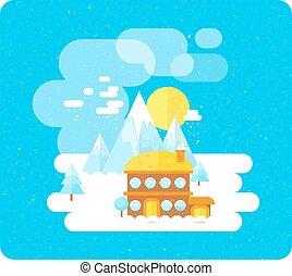 hiver, temps neige, recours, amusement, ski, montagnes
