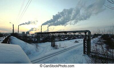 hiver, termal, station, coucher soleil, fumée, pollution