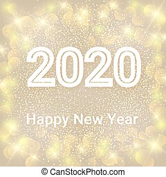 hiver, texte, année, pattern., illustration, lentille, arrière-plan., bokeh, vecteur, 2020, flamme, nouveau, vacances, heureux