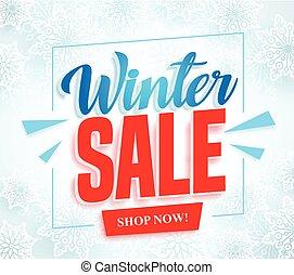 hiver, texte, cadre, neige, vente, vecteur, fond, blanc, bannière, rouges, 3d