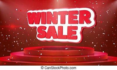 hiver, texte, vente, podium, animation, confetti, boucle, étape