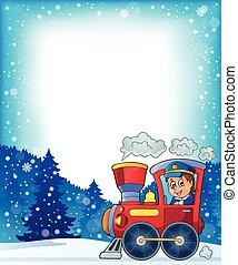 hiver, thème, à, locomotive