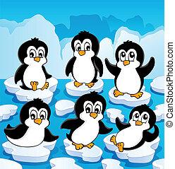 hiver, thème, à, pingouins, 1