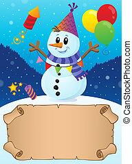 hiver, thème, 2, petit, fête, parchemin