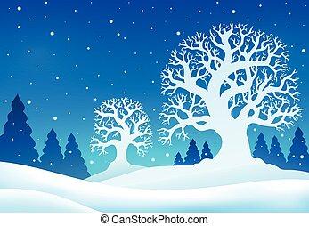 hiver, thème, fond, 9