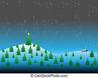 hiver, thème, illustration