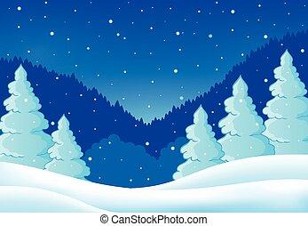 hiver, thème, paysage, 2
