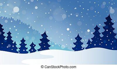 hiver, thème, paysage, 3