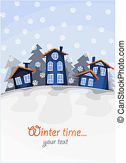 hiver, time., colline, village, petit, vue