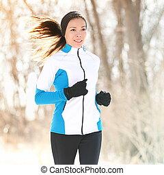 hiver, traîner courir