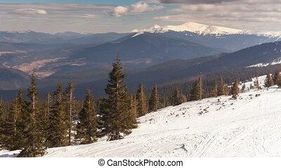 hiver, uhd., défaillance, temps, montagnes., 4k