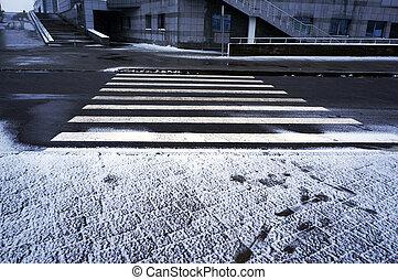 hiver, urbain, crosswalk., scene.