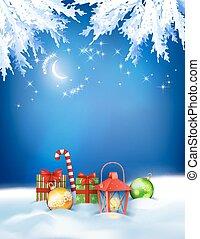 hiver, vecteur, noël, fond, nuit