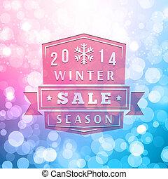 hiver, vente, étiquette, vecteur, fond, 2014, brouillé