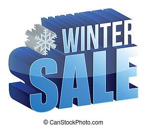 hiver, vente, 3d, texte, illustration