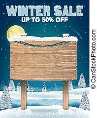 hiver, vente, lac, signe, bois, planche