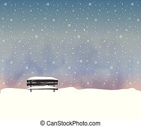 hiver, vieux, snowfall., minimaliste, paysage, style, banc, illustration, noir, vecteur, nuit