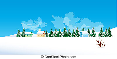 hiver, village, paysage