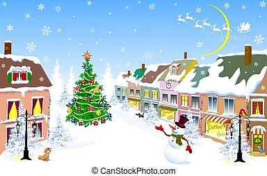 hiver, ville, bonhomme de neige, nuit, noël, noël