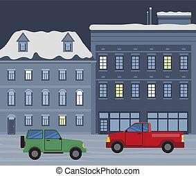 hiver, ville, cityscape, voitures, rue, nuit