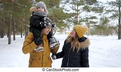 hiver, ville, famille, heureux, ensemble., marche, parc, jeune