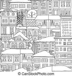 hiver, ville, modèle