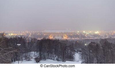 hiver, ville, moineau, moscou, timelapse, panoramique, nuit, russie, vue, jour, collines