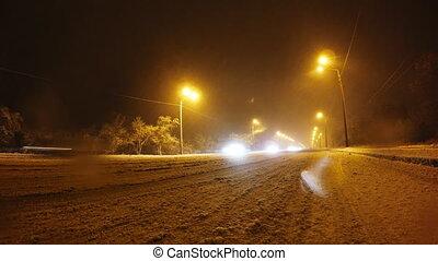 hiver, ville, timelaps, route, nuit