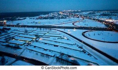 hiver, voitures, carrefour, trafic, autoroute, autour de