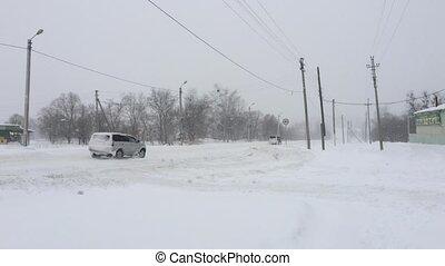 hiver, voitures, road., conduite, neigeux