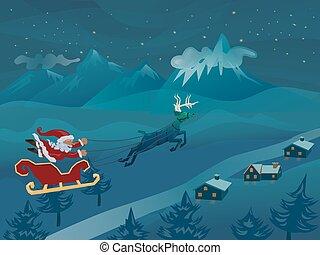hiver, voler, cerf, santa, nuit, traîneau