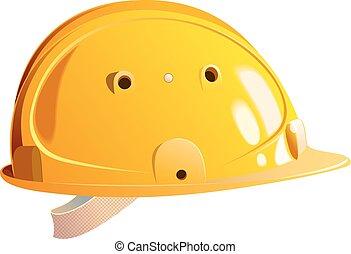 hjälm, byggmästare, gul