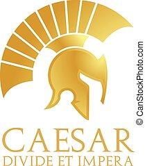 hjälm, caesar, logo