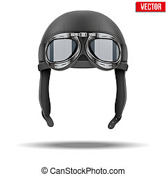 hjälm, isolerat, flygare, retro, vit, goggles., pilot