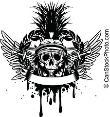 hjälm, korsat, svärd, kranium