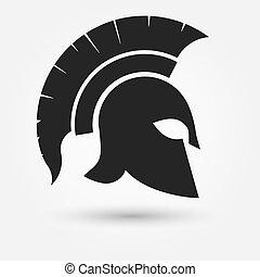 hjälm, krigare, spartan
