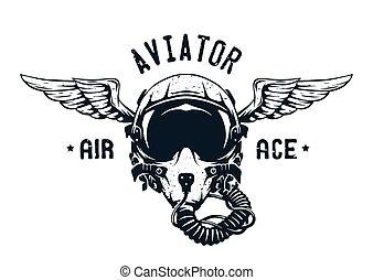 hjälm, pilot, kämpe, emblem.