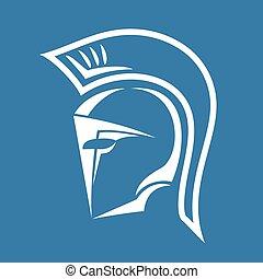 hjälm, spartan, symbol