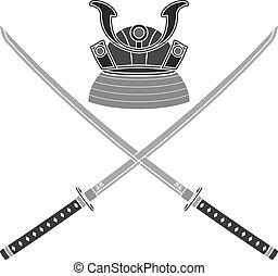 hjälm, svärd, japansk