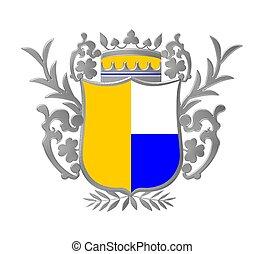 hjälmbuske, emblem, färgad