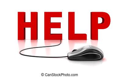 hjälp, 3, text, med, dator mus