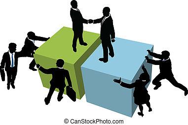 hjälp, affärsfolk, räckvidd, tillsammans, furu