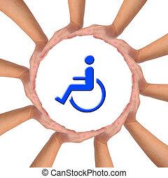 hjälp, avbild, person., handikappat, begreppsmässig, omsorg