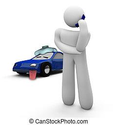 hjälp, bil, -, nedåt, bruten, rop